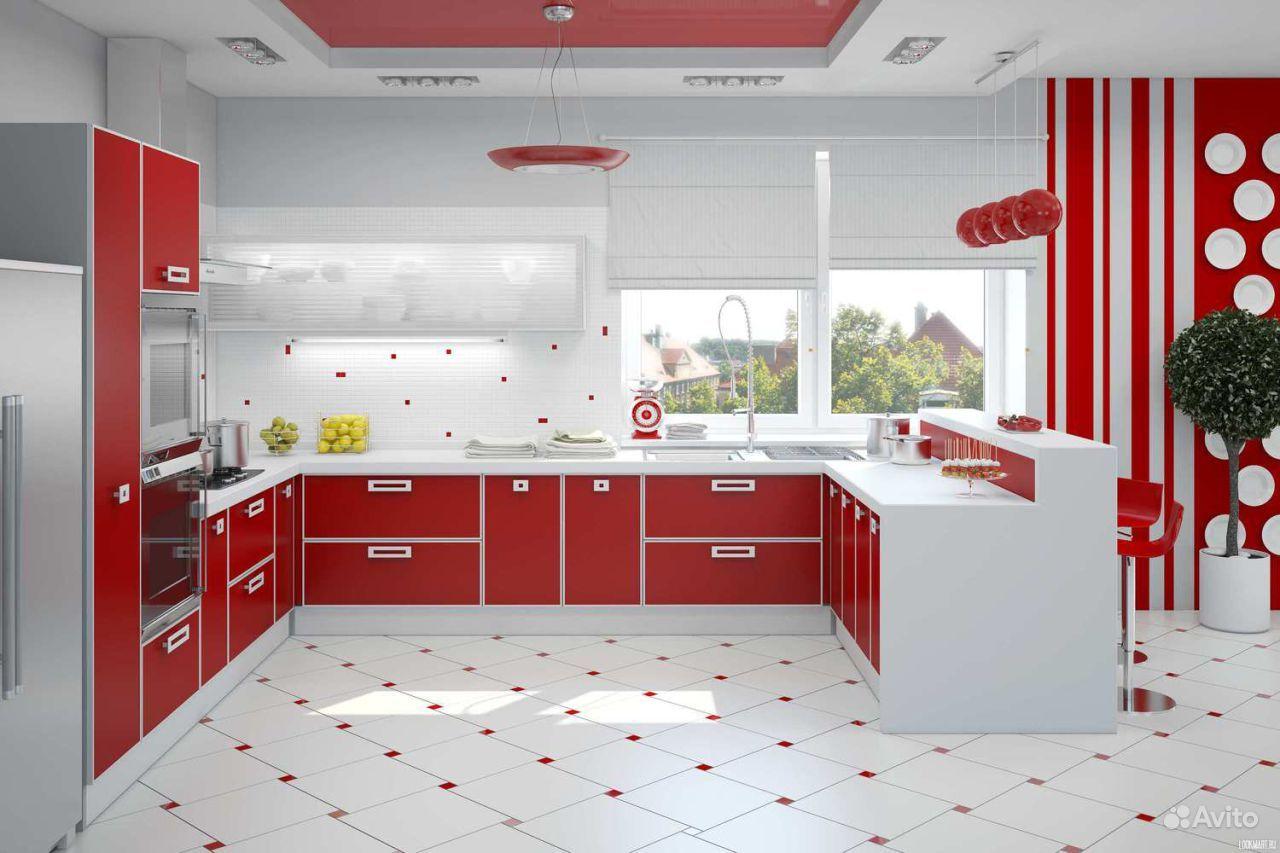 Дизайн кухни бело красной