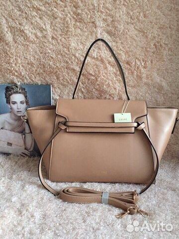 Женская сумка Celine 1491 из кожзама бежевый, черный