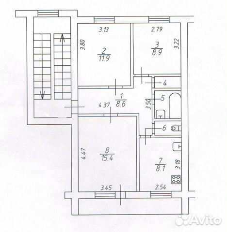 3-к квартира, 61.2 м², 2/5 эт.  89116109172 купить 1
