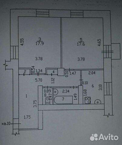 2-к квартира, 60.8 м², 4/4 эт.  89620775912 купить 1