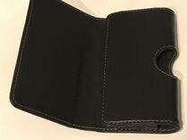 Кожаный чёрный чехол для телефона на ремень