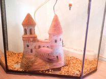 Аквариум с рыбками, грунтом, воздухом и замком